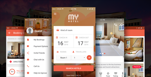 The mobile app design for hotel mobile application - My Hotel