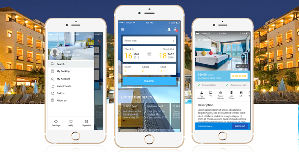 The mobile app design for online hotel booking hotel tonight for Hotel reservation design