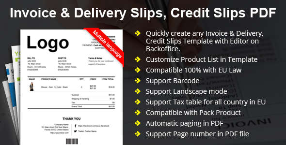 Prestashop Invoice & Delivery Slips, Credit Slips Template Builder with  Custom Number Pro